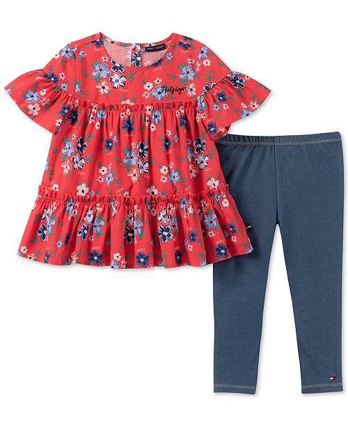 70b2e22f8bc Tommy Hilfiger Toddler Girls 2-Pc. Floral-Print Tunic & Denim Leggings Set
