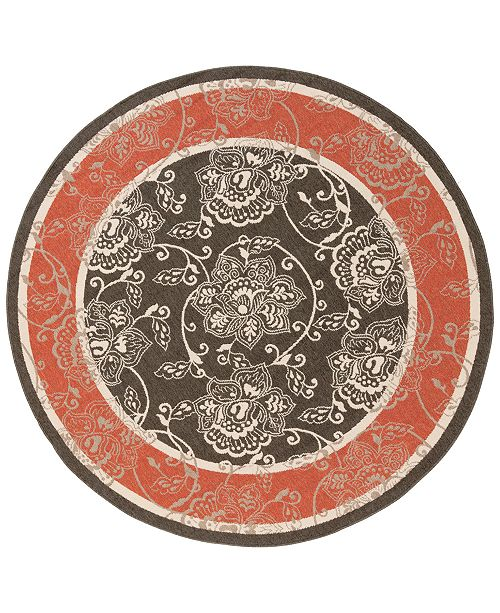 "Surya Alfresco ALF-9592 Black 8'9"" Round Area Rug, Indoor/Outdoor"