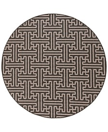 """Alfresco ALF-9604 Black 8'9"""" Round Area Rug, Indoor/Outdoor"""