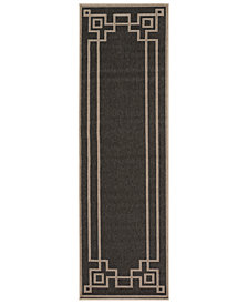 "Surya Alfresco ALF-9630 Black 2'3"" x 7'9"" Runner Area Rug"