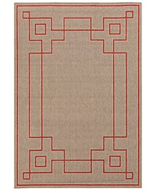 "Alfresco ALF-9633 Rust 2'3"" x 4'6"" Area Rug, Indoor/Outdoor"