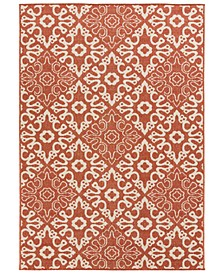 "Alfresco ALF-9636 Rust 5'3"" x 7'6"" Area Rug, Indoor/Outdoor"