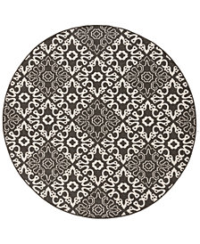 "Surya Alfresco ALF-9637 Black 5'3"" Round Area Rug"