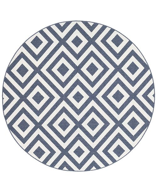 "Surya Alfresco ALF-9657 Charcoal 5'3"" Round Area Rug, Indoor/Outdoor"