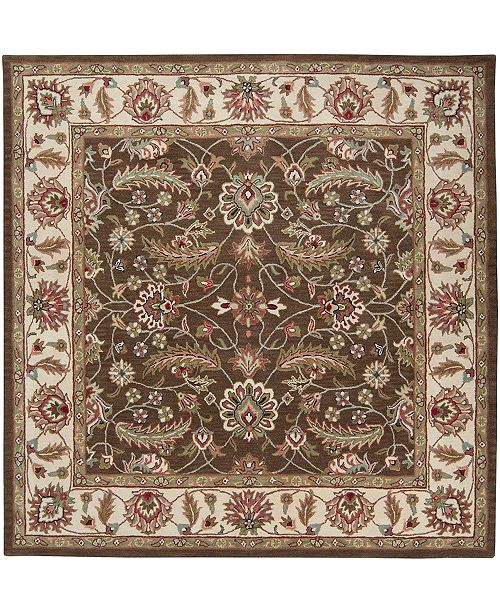 Caesar Cae 1003 Dark Brown 6 Square Area Rug
