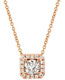 """Nude™ Diamond Halo 20"""" Pendant Necklace (3/8 ct. t.w.) in 14k Rose Gold or 14k Yellow Gold"""