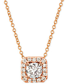 "Le Vian® Nude™ Diamond Halo 20"" Pendant Necklace (3/8 ct. t.w.) in 14k Rose Gold"