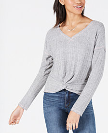 American Rag Juniors' Twist-Front Ribbed Top, Created for Macy's