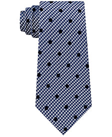 Sean John Men's Classic Flocked Dot Houndstooth Tie