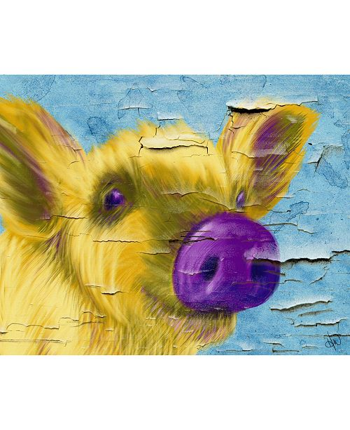 """Creative Gallery Purple Nosed Pig On Crackle Pattern 16"""" X 20"""" Canvas Wall Art Print"""