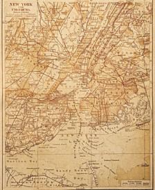 "Vintage New York Map Sepia 24"" X 36"" Canvas Wall Art Print"