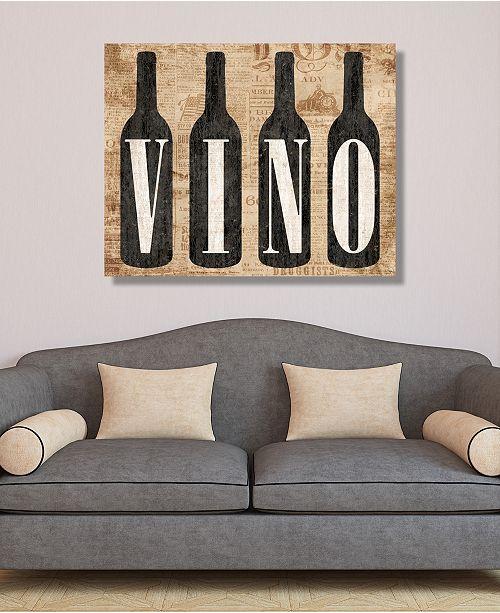"Creative Gallery Vintage Vino Bottles On Newsprint Pattern 16"" X 20"" Canvas Wall Art Print"