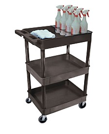 Offex 3 Shelf Tub Cart with Bottle Holder - Black
