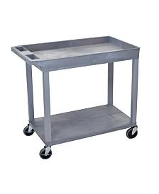 "Clickhere2shop 32"" x 18"" One Tub/One Flat Shelf Utility Cart - Gray"