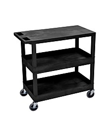 "Offex Rolling 32"" x 18"" Two Tub/One Flat Shelves Utility Cart - Black"