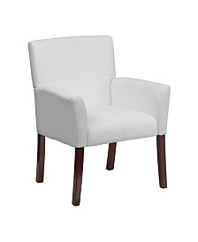 Clickhere2shop White Leather Executive Side Chair or Reception Chair with Mahogany Legs