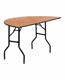Offex 60'' Half-Round Wood Folding Banquet Table