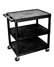 Offex 3 Shelves Structural Foam Plastic Utility Cart - Black