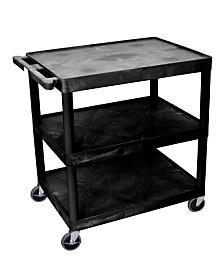 Clickhere2shop 3 Shelves Structural Foam Plastic Utility Cart - Black