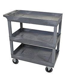 "32"" x 18"" Three-Tub Shelf Utility Cart with 5"" Casters - Gray"