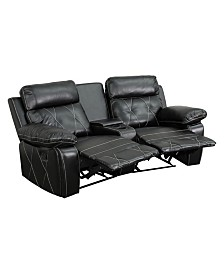 Offex 2-Seat Reclining Brown Leather Theater Seating Unit with Curved Cup Holders