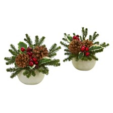 Nearly Natural Christmas Inspired Artificial Arrangement in Ceramic Vase, Set of 2