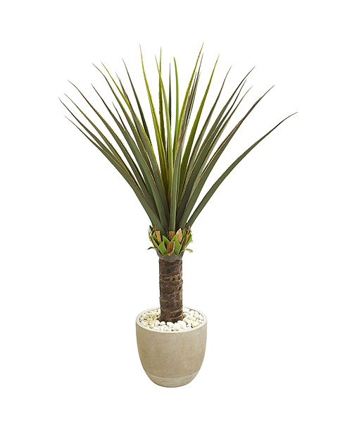 Nearly Natural Agave Artificial Plant in Sandstone Planter