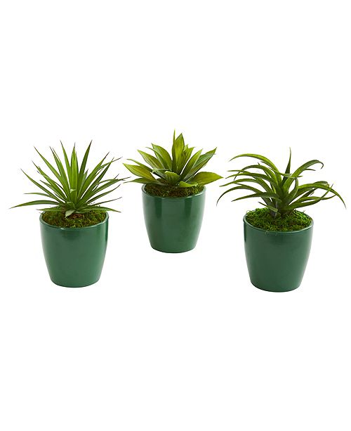 Nearly Natural Mini Agaves Artificial Plant in Green Planter, Set of 3