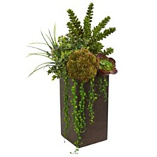 Nearly Natural Succulent Artificial Plant in Brown Planter