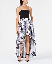 Juniors' Strapless High-Low Gown