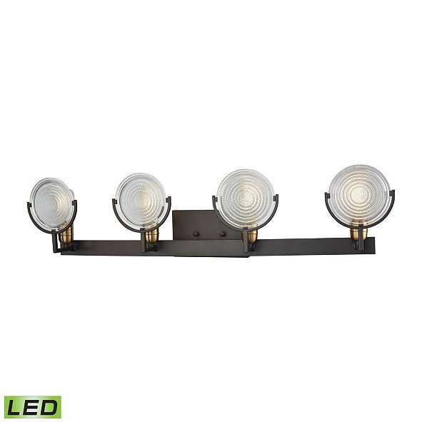ELK Lighting Ocular 4 Light Vanity in Oil Rubbed Bronze with Satin Brass Accents and Clear Railroad Light Glass