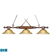 Designer Classics 3-Light Billiard/Island in Wood Patina with Amber Gratina Glass Shades - LED, 800 Lumens