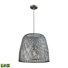 Pleasant Fields 1 Light Pendant with Graphite Hardware and Gray Wicker Shade