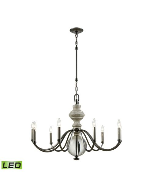 ELK Lighting Neo Classica 9 Light Chandelier in Aged Black Nickel with Weathered Birch Finished Wood and Clear Cr