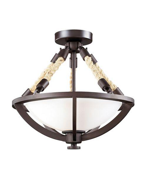 ELK Lighting Natural Rope 2-Light Semi-Flush in Aged Bronze