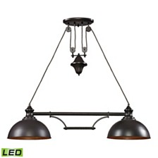 Farmhouse 2 Light Island in Oiled Bronze - LED, 800 Lumens (1600 Lumens Total) with Full Scale Dimming Range