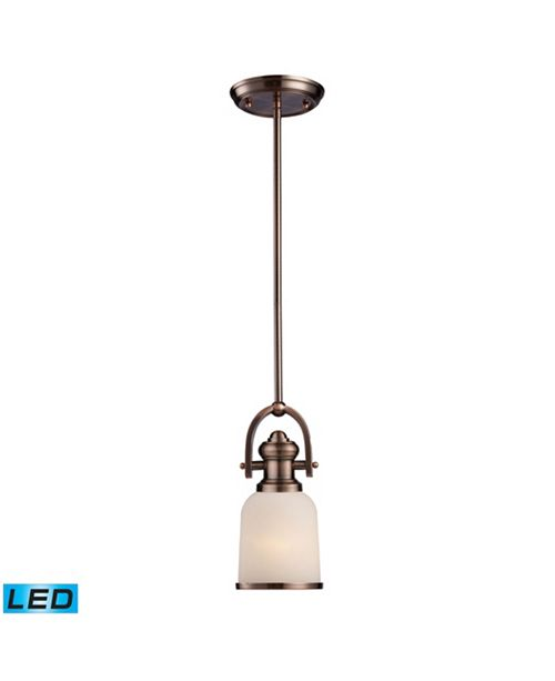 ELK Lighting Brooksdale 1-Light Pendant in Antique Copper - LED Offering Up To 800 Lumens (60 Watt Equivalent) With