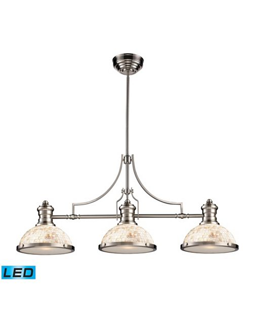 ELK Lighting Chadwick 3-Light Island Light in Satin Nickel with Cappa Shell - LED, 800 Lumens (2400 Lumens Total)