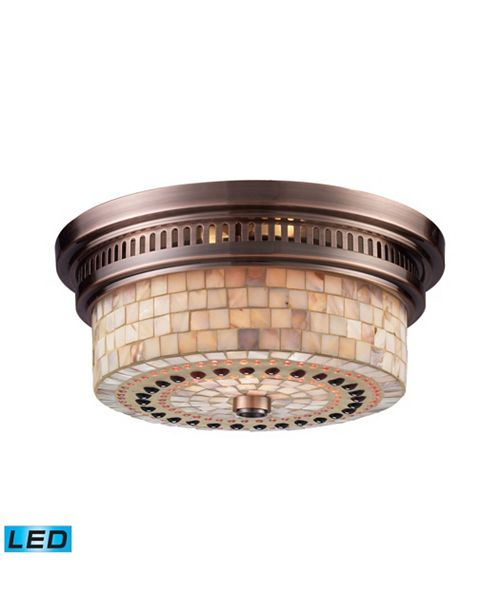 ELK Lighting Chadwick 2-Light Flush Mount in Antique Copper and Cappa Shell - LED, 800 Lumens (1600 Lumens Total)