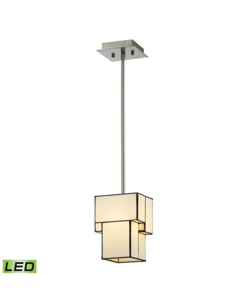 ELK Lighting Cubist Collection 1 light mini pendant in Brushed Nickel - LED Offering Up To 800 Lumens (60 Watt Equivalent)