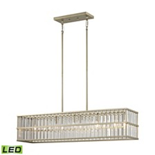 Ridley 5 Light Chandelier in Aged Silver with Oval Glass Rods