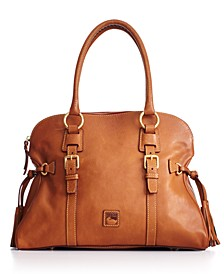 Florentine Domed Buckle Leather Satchel