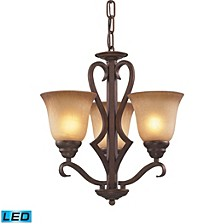3 Light Chandelier in Mocha and Antique Amber Glass - LED, 800 Lumens (2400 Lumens Total) with Full Scale Dimming Range