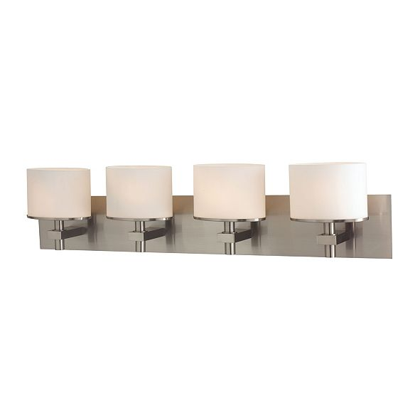 ELK Lighting Ombra 4 Light Vanity in Satin Nickel and White Opal Glass