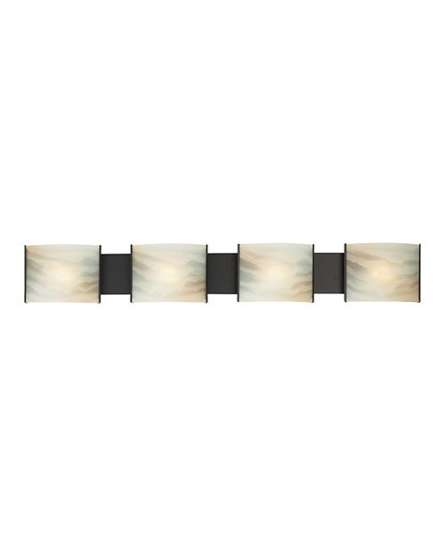 ELK Lighting Pannelli Vanity - 4 Light with Lamps. Honey Alabaster Glass / ORB Finish