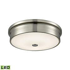 Round LED Flushmount in Satin Nickel and Opal Glass - Small