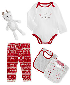 First Impressions Baby Boys or Girls Holiday Deer Bodysuit, Bibs, Pants & Doll Separates, Created for Macy's