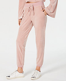 Material Girl Juniors' Step-Hem Velour Sweatpants, Created for Macy's