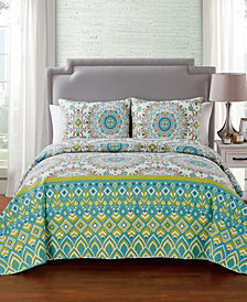 VCNY Home Phoebe 3 PC Full/Queen Medallion Quilt Set