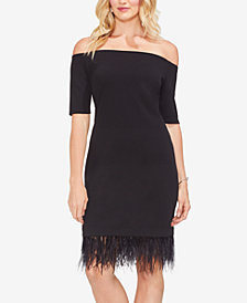 Vince Camuto Feather-Hem Off-The-Shoulder Dress